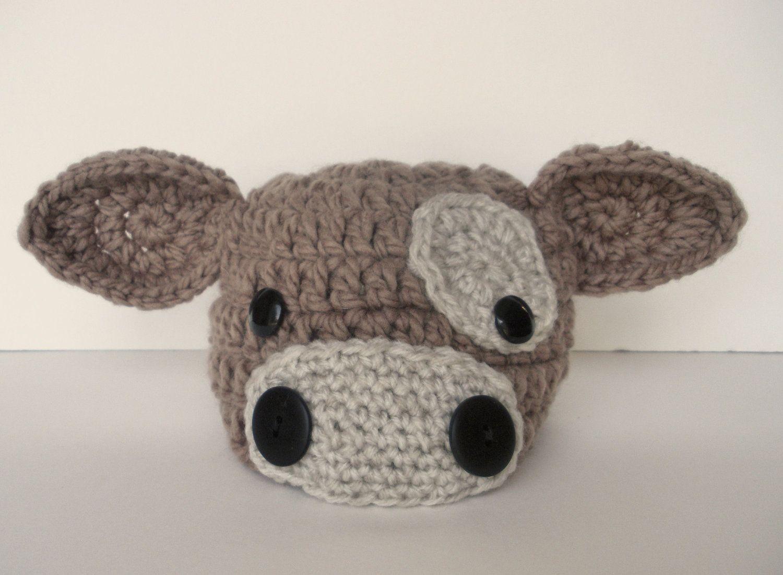 Newborn Baby Brown Cow Hat Crochet Photo Prop