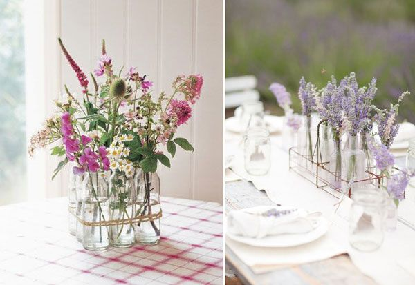 id es pour un centre de table champetre wedding deco. Black Bedroom Furniture Sets. Home Design Ideas