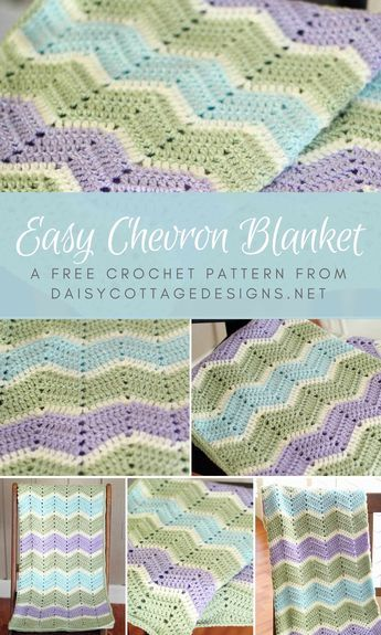 Easy Chevron Blanket Crochet Pattern images