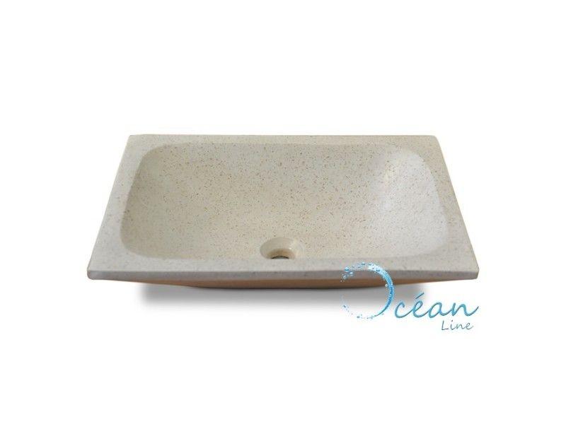 Vasque de salle de bains  poser quadra rectangle blanc cassé en