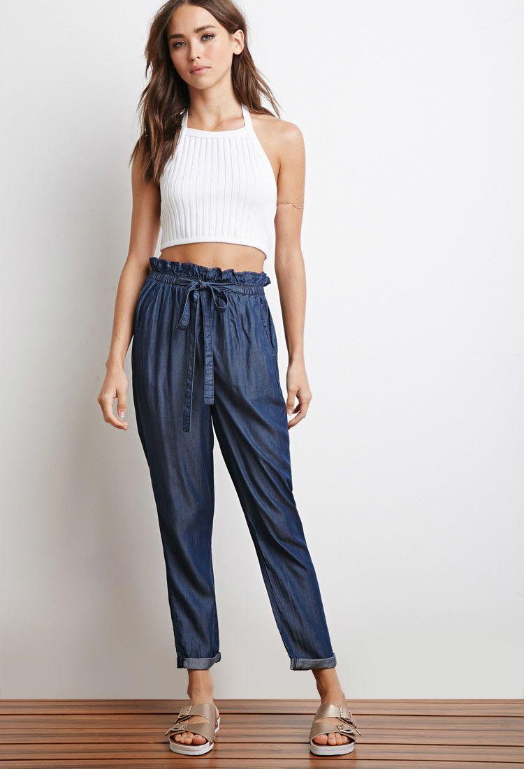 Paper bag trousers - Chambray Paper Bag Waist Pants