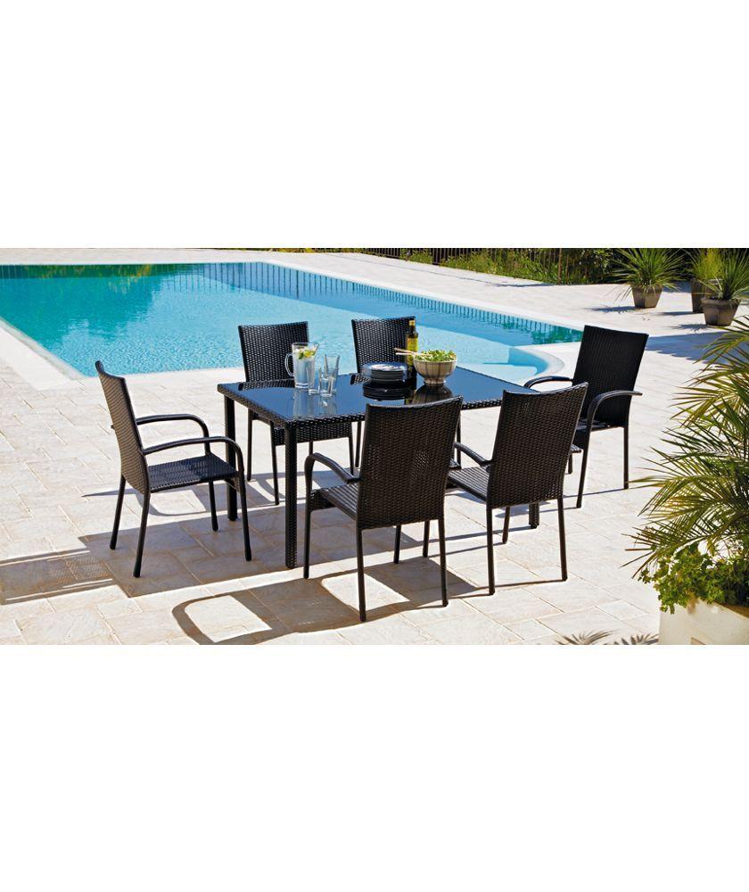 Buy Lima 6 Seater Patio Furniture Dining Set   Black At Argos.co.uk