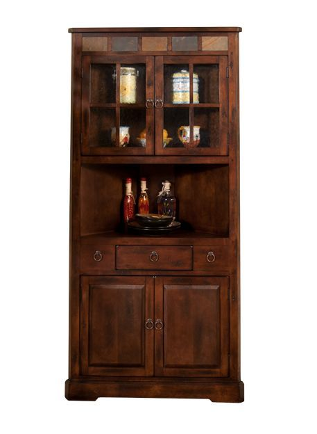 "Sd2451Dc  36"" Santa Fe Rustic Birch Corner Hutch And Buffet Interesting Corner Hutch Cabinet For Dining Room 2018"