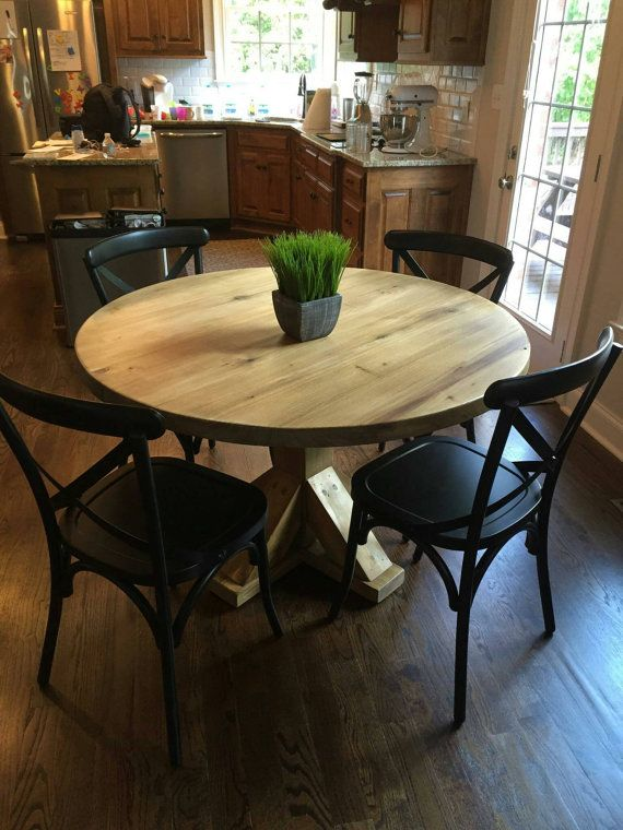 Round Table Kitchen Table Reclaimed Wood Table Etsy In 2020