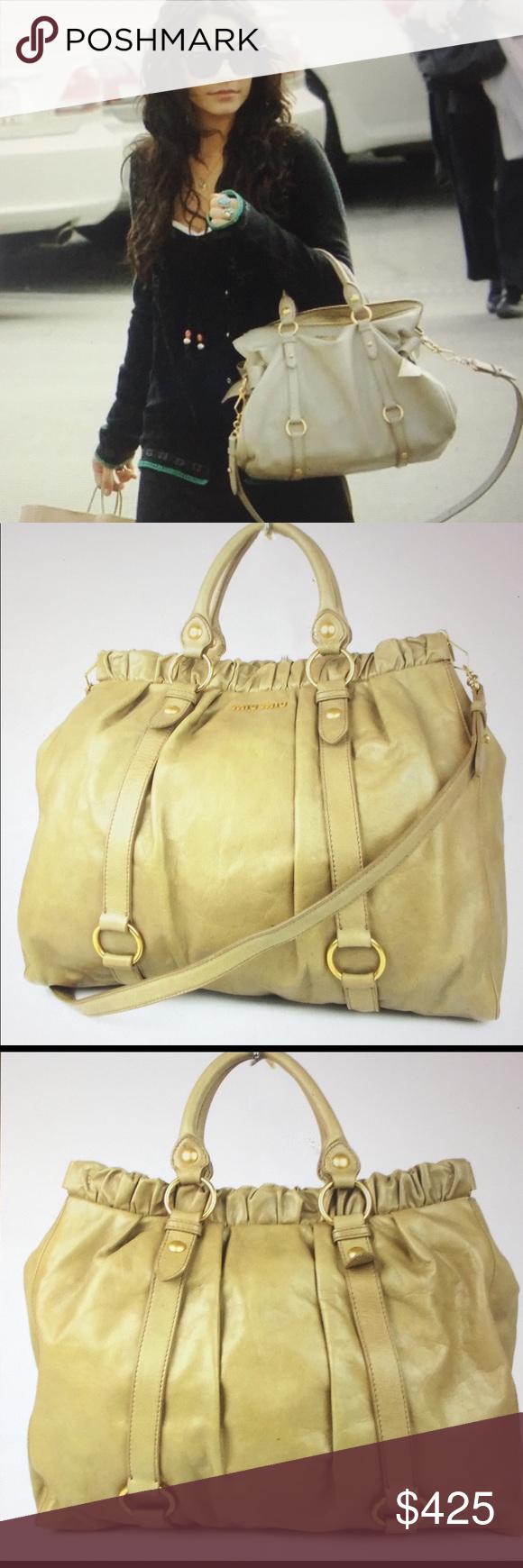 Miu Miu Leather Large 2 Way Shoulder Bag Authentic Miu Miu Two way Handbag 471d30a5510ef