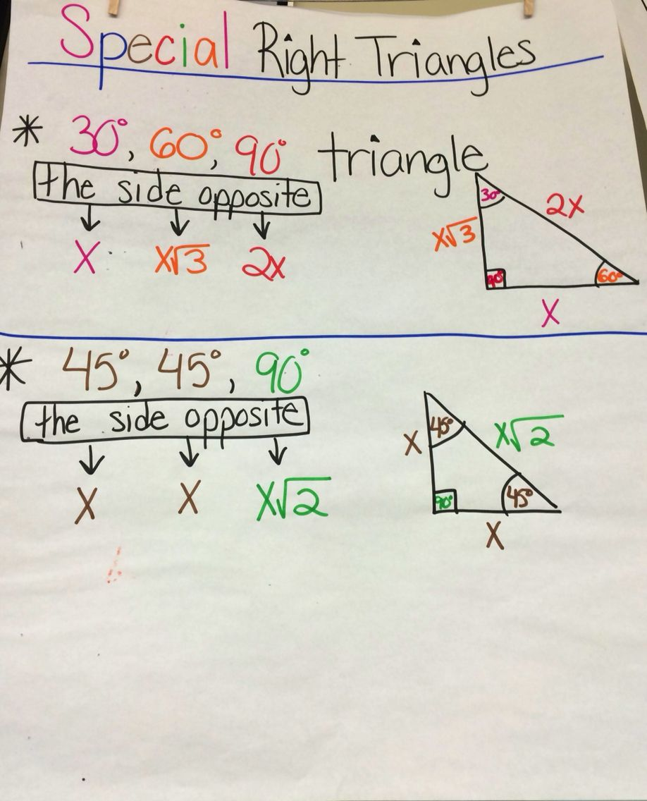 Special Right Triangles Anchor Chart Special Right Triangle Math Interactive Notebook Geometry Notes [ 1136 x 918 Pixel ]