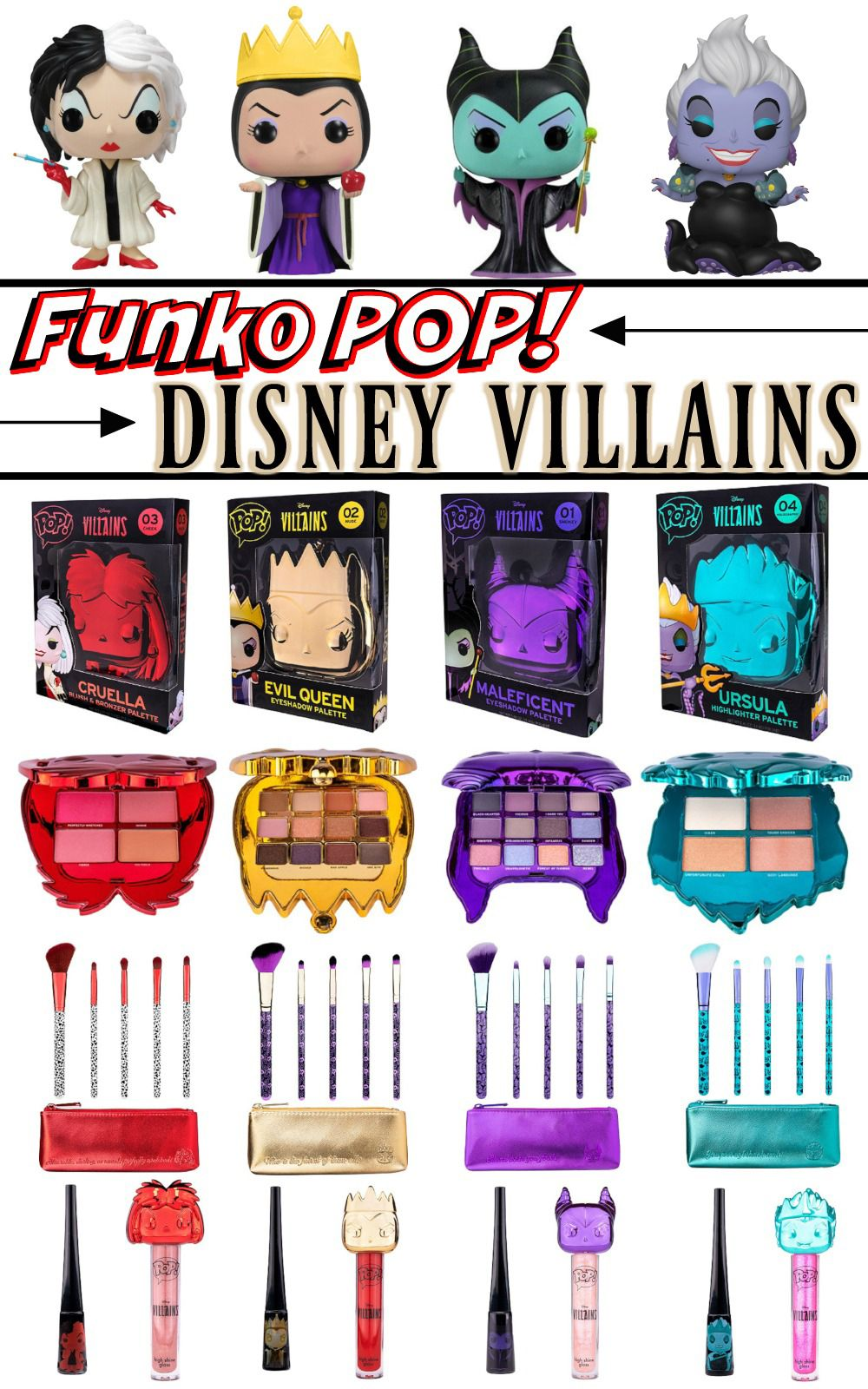 Funko POP x Disney Villains Makeup Collection Product Info