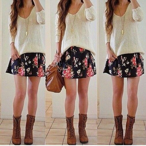skirt w/ combat boots | Wardrobe Dreams | Pinterest | Floral skirt ...