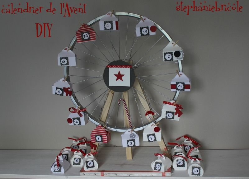 diy faire soi m me un calendrier de l 39 avent grande roue de v lo roues de v lo stephanie. Black Bedroom Furniture Sets. Home Design Ideas