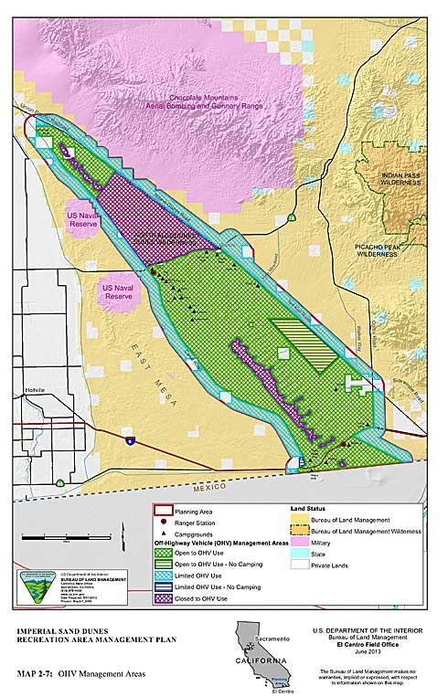 Imperial Sand Dunes Map Map of Imperial Sand Dunes recreational area as of May 3, 2014