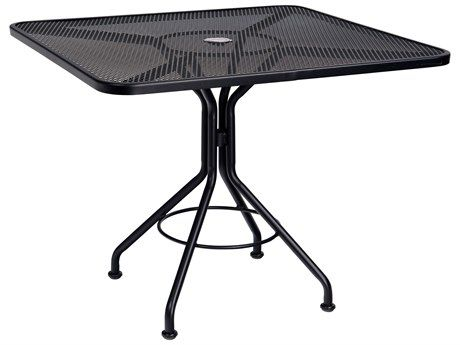 Woodard Mesh Wrought Iron 36 Square Bistro Dining Table With Umbrella Hole 280029 In 2021 Metal Dining Table Bistro Table Bistro Dining Table Bistro table with umbrella hole