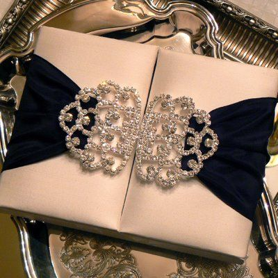 Exquisite Boxed Couture Wedding Invitations With Jeweled Accents!