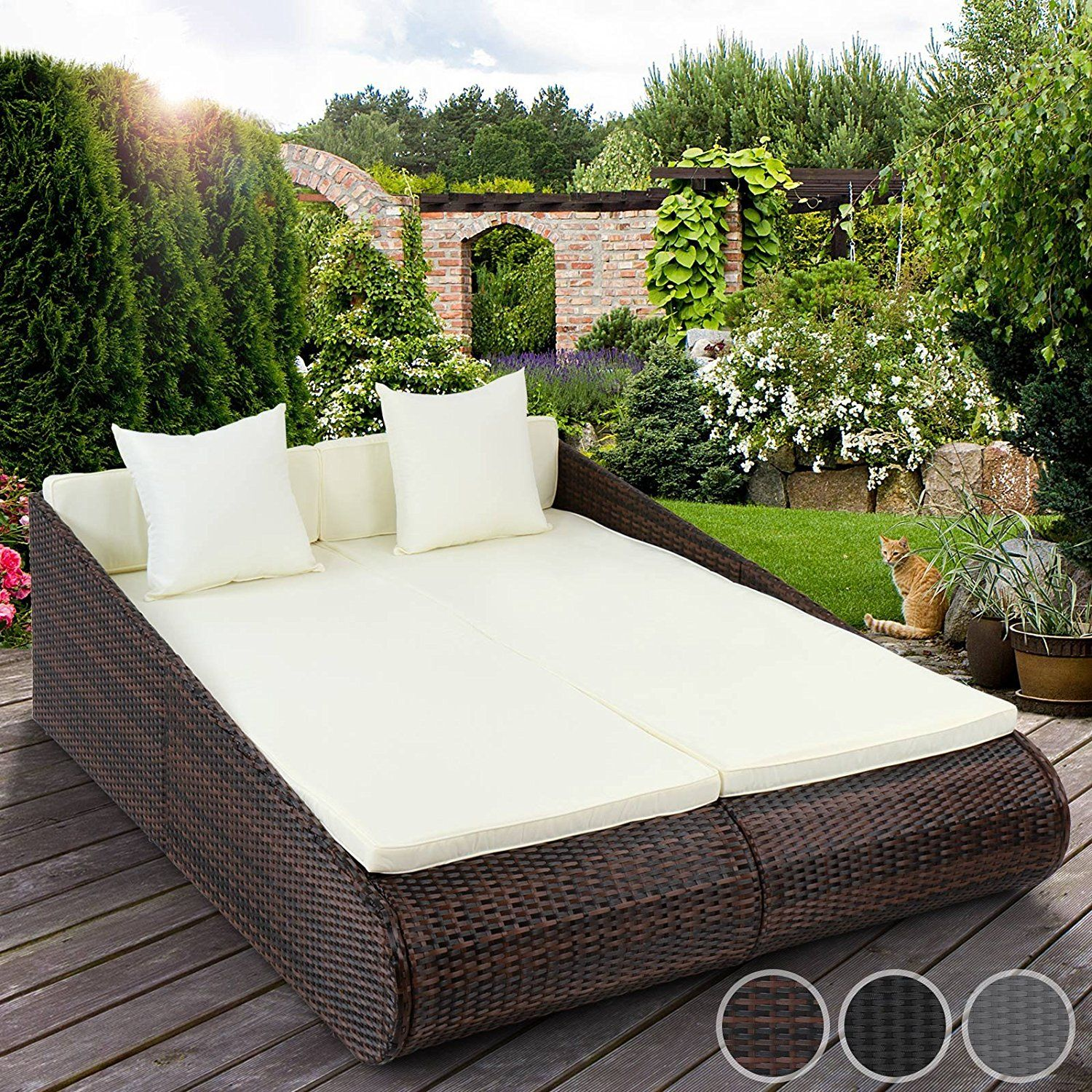 Garden Rattan Sofa Uk Miadomodo Poly Rattan Sun Lounger Indoor Outdoor Garden Sofa Day
