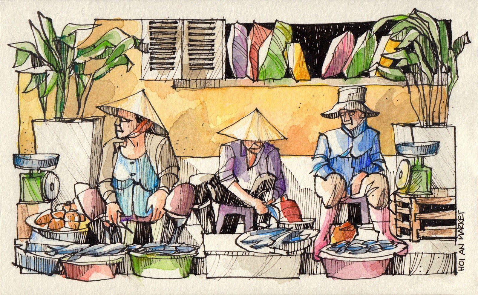 Базар картинки нарисованные карандашом