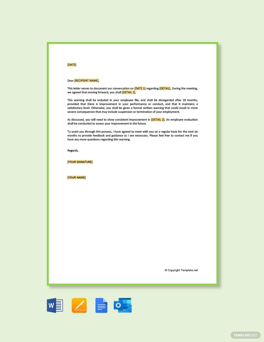 Warning Letters To Employees Report Template Invitation