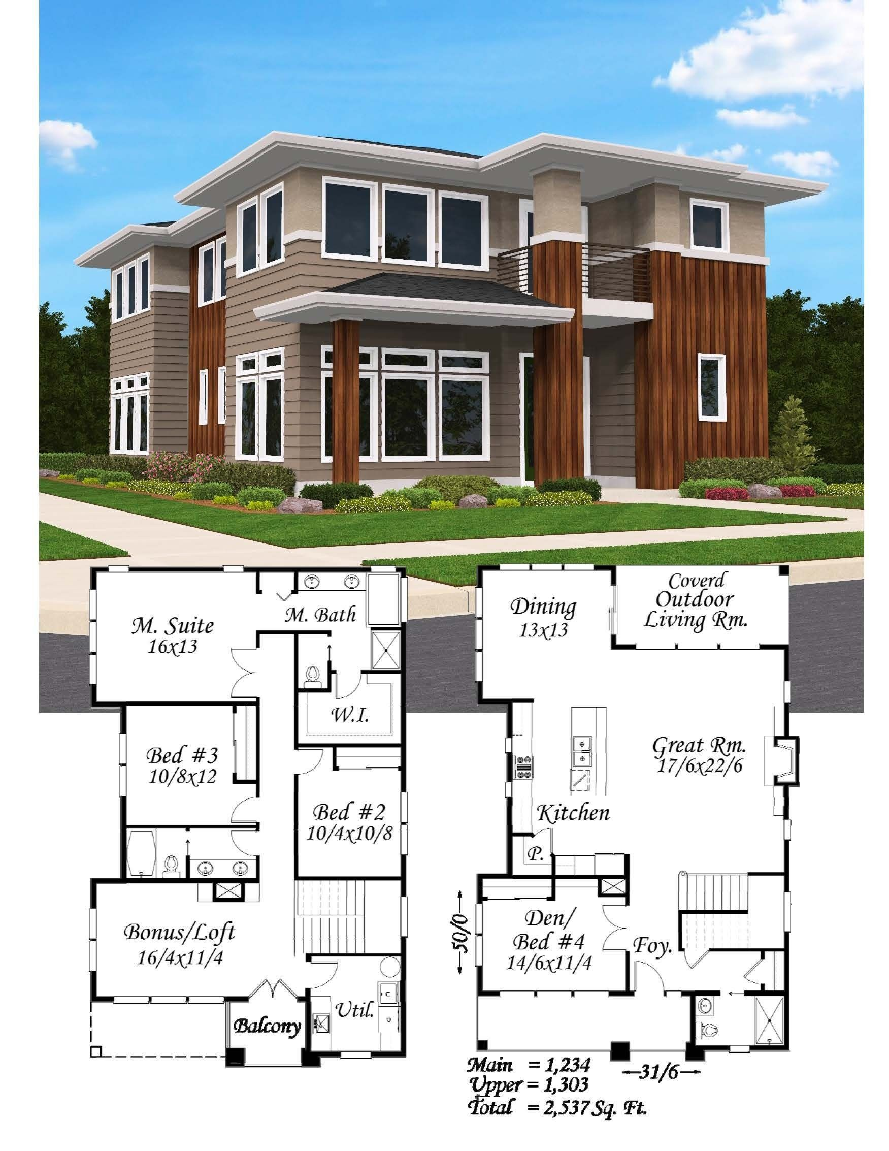 Northwest Modern House Plans A Groovy Corner Lot Home With Spectacular Street Appeal In 2020 Modern House Plans Architecture Model House House Plans