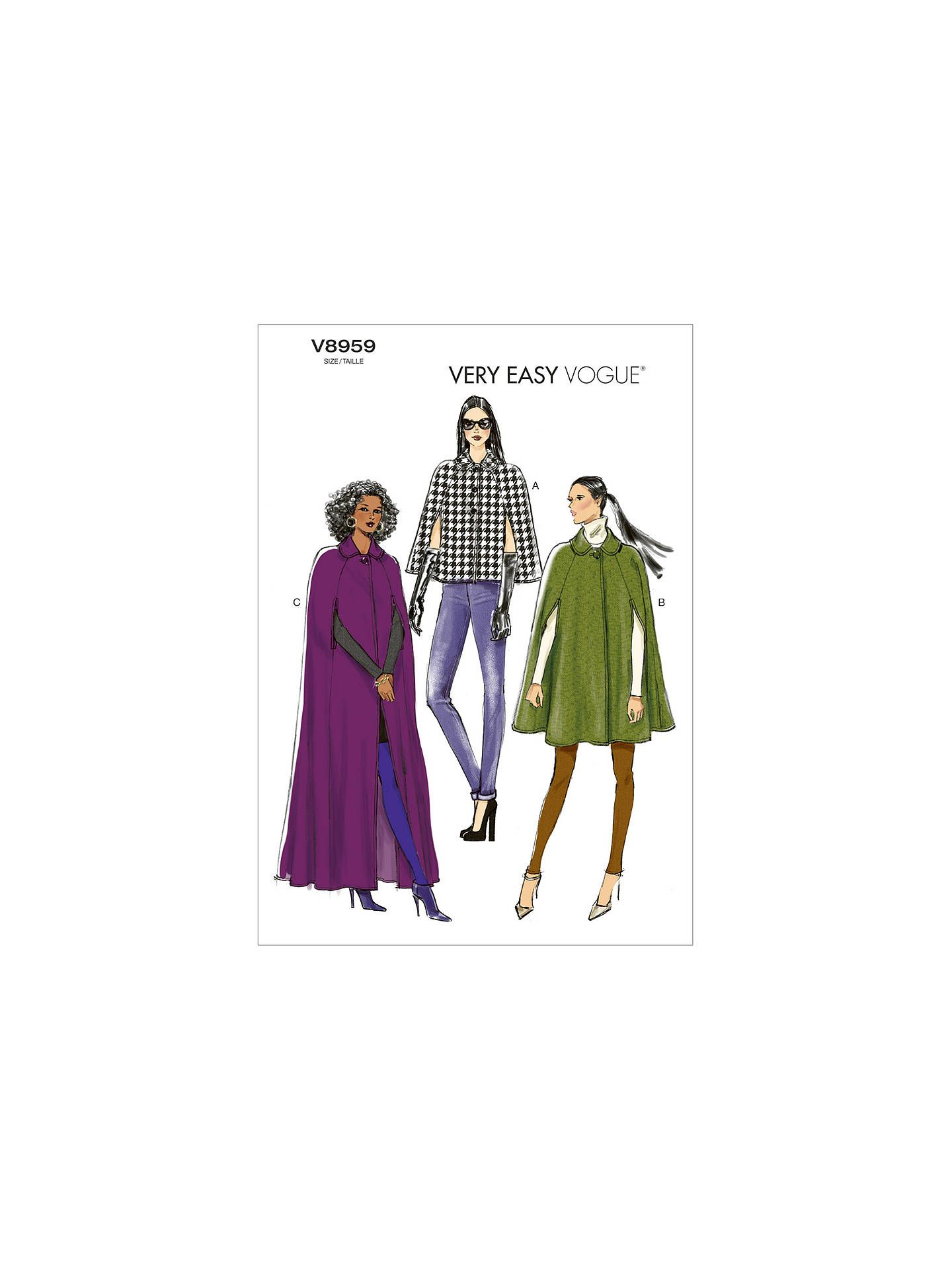 Vogue Very Easy Women\'s Cape Sewing Pattern, 8959 in 2019 | Capes ...