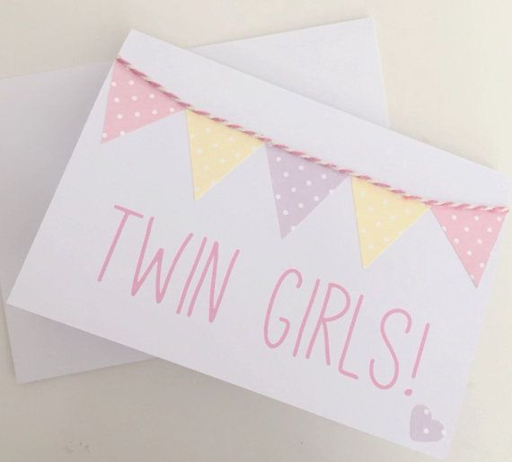 Congratulations card new baby card baby girl card new twins card baby