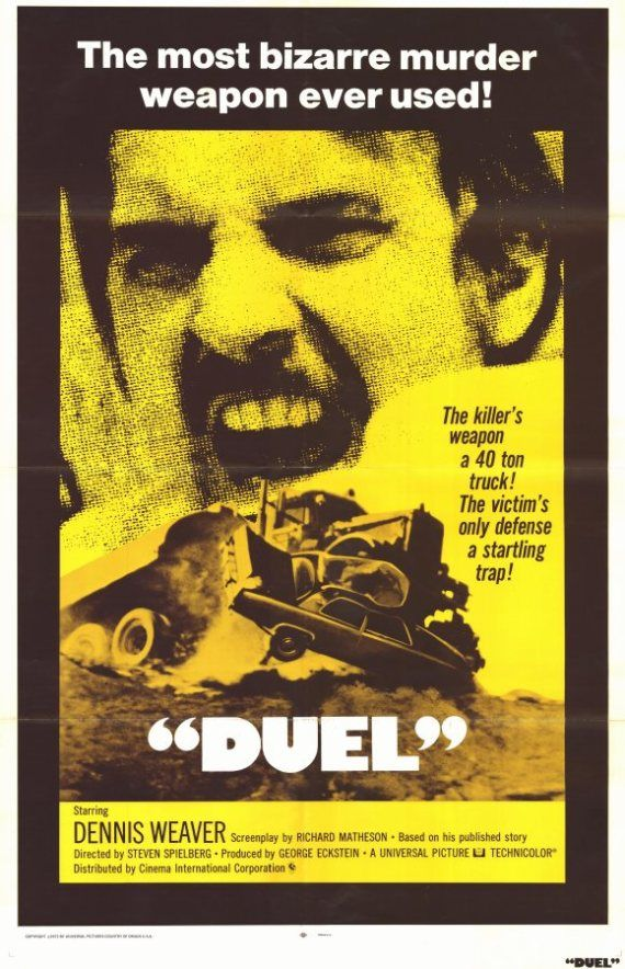 """Duel"" (1971) / Director: Steven Spielberg / Writers: Richard Matheson (screenplay), Richard Matheson (story) / Stars: Dennis Weaver, Jacqueline Scott, Eddie Firestone #poster"