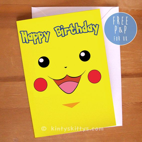 Birthday Cards Pokemon: Pokémon Pikachu Face Geeky Happy Birthday Greetings Card