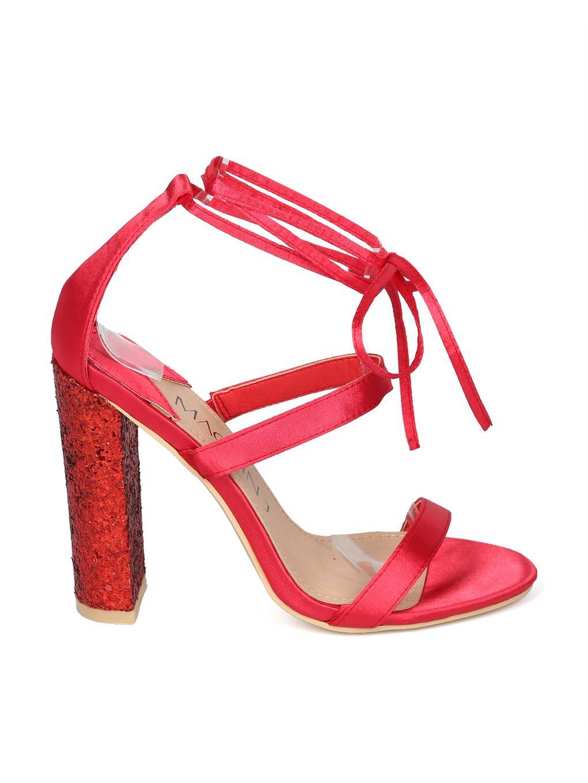 1052352497e Shoes MACKINJ HH22 Women Satin Strappy Ankle Wrap Glitter Block Heel Sandal