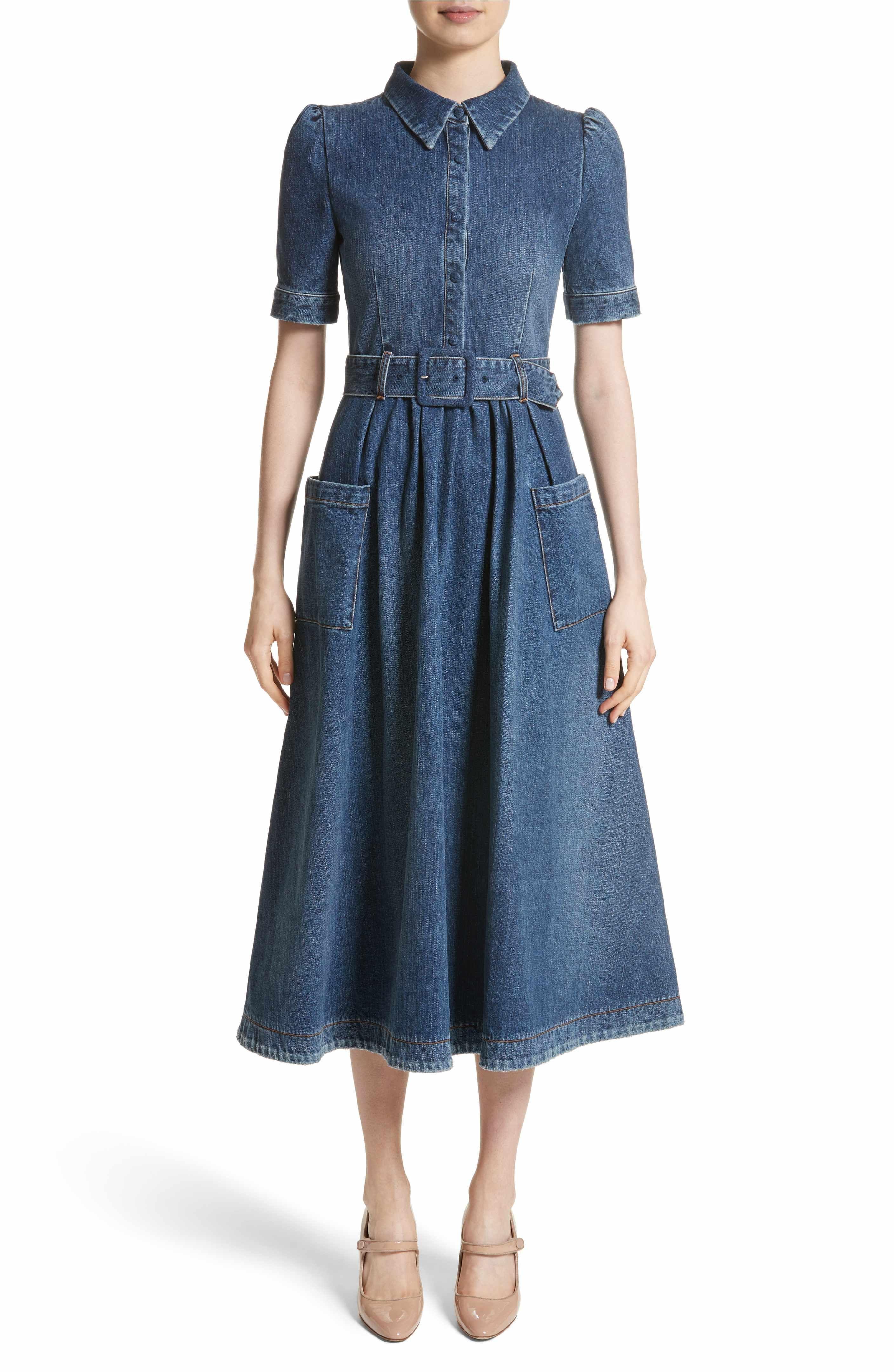 c1d8db708f Main Image - Co Denim Fit   Flare Midi Dress