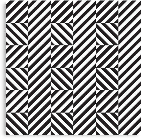 Op Art Pattern Black And White Diagonal Lines Canvas Print By Kallyfactory In 2021 Pattern Art Op Art Patterns Canvas
