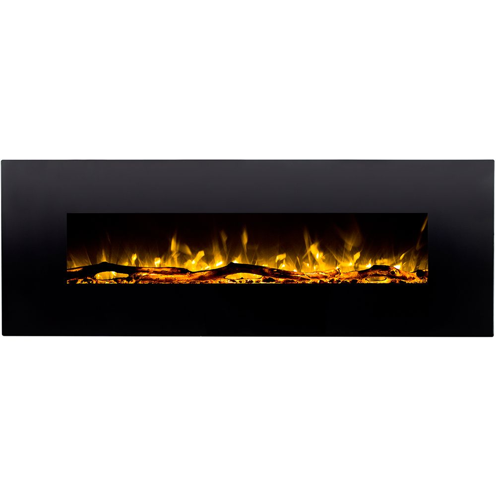 Erie 72 Inch Black Ventless Heater Electric Wall Mounted Fireplace