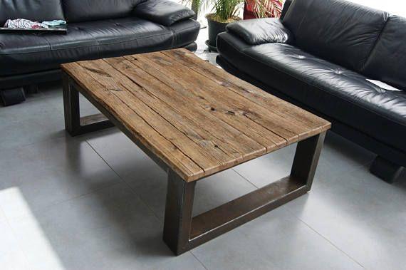 Table Basse Industriel Pied Acier Plateau En Chene Massif Vieilli Coffee Table Coffee Table Furniture Reclaimed Wood Coffee Table