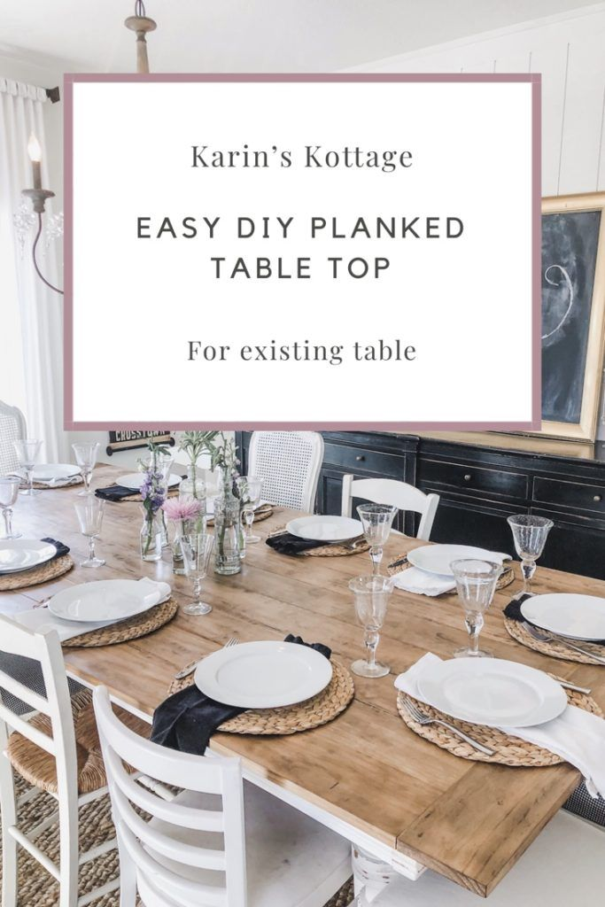Easy DIY Planked table top for existing table! We have had this table in our family for many years but it just wasn't big enough for Sunday dinner so we added a planked top right over the top! Follow to see the easy directions