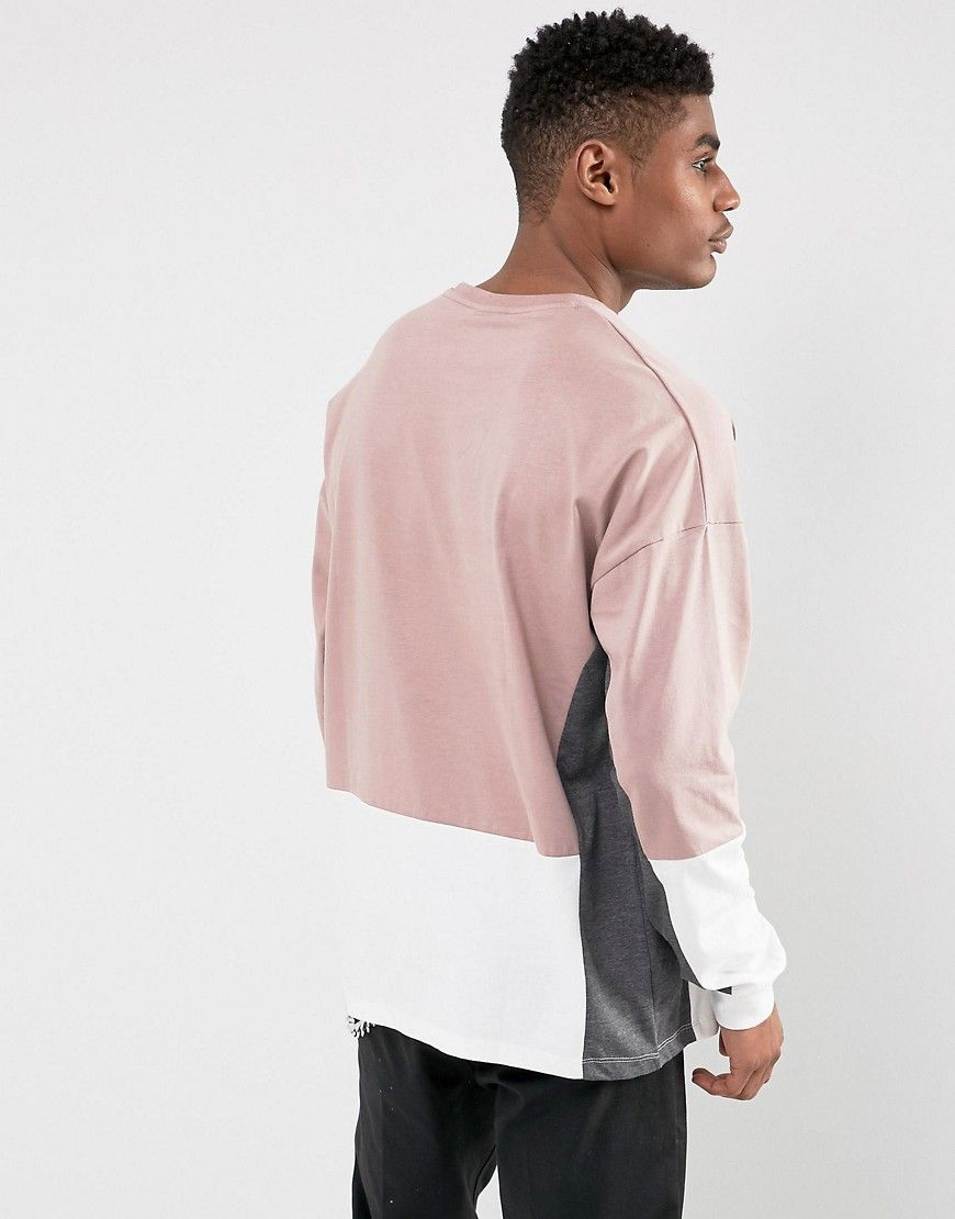 691b78047fa8b0 ASOS Oversized Long Sleeve T-Shirt With Color Block Panel Detail & EDS