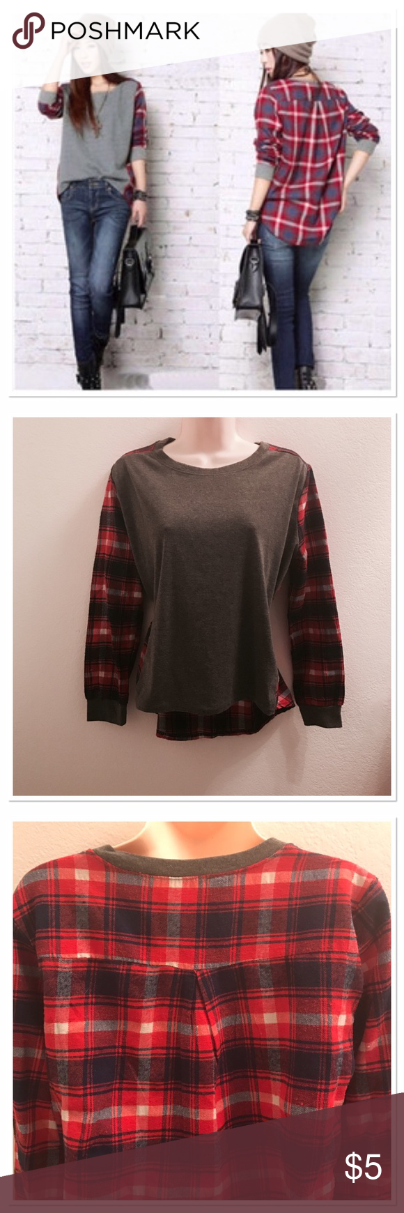 Hi low long sleeve plaid top Really comfortable. Solid grey with red/blue plaid in the back and sleeves. Length 20 in front, 24 in back, 20 in sleeves. Size says L bit I think it's more S. Bust 17 in flat. Tops