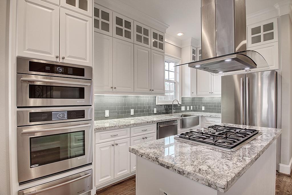 White Cabinets Light Grey Subway Tile Backsplash Speckled Grey