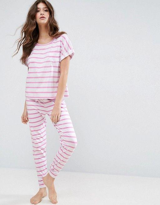 592809c05039 ASOS Breton Stripe Tee  amp  Legging Pyjama Set Sleepwear Women