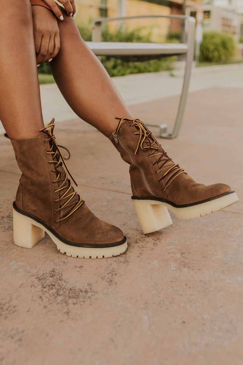 Free People Lace Up Boot - Tan Leather