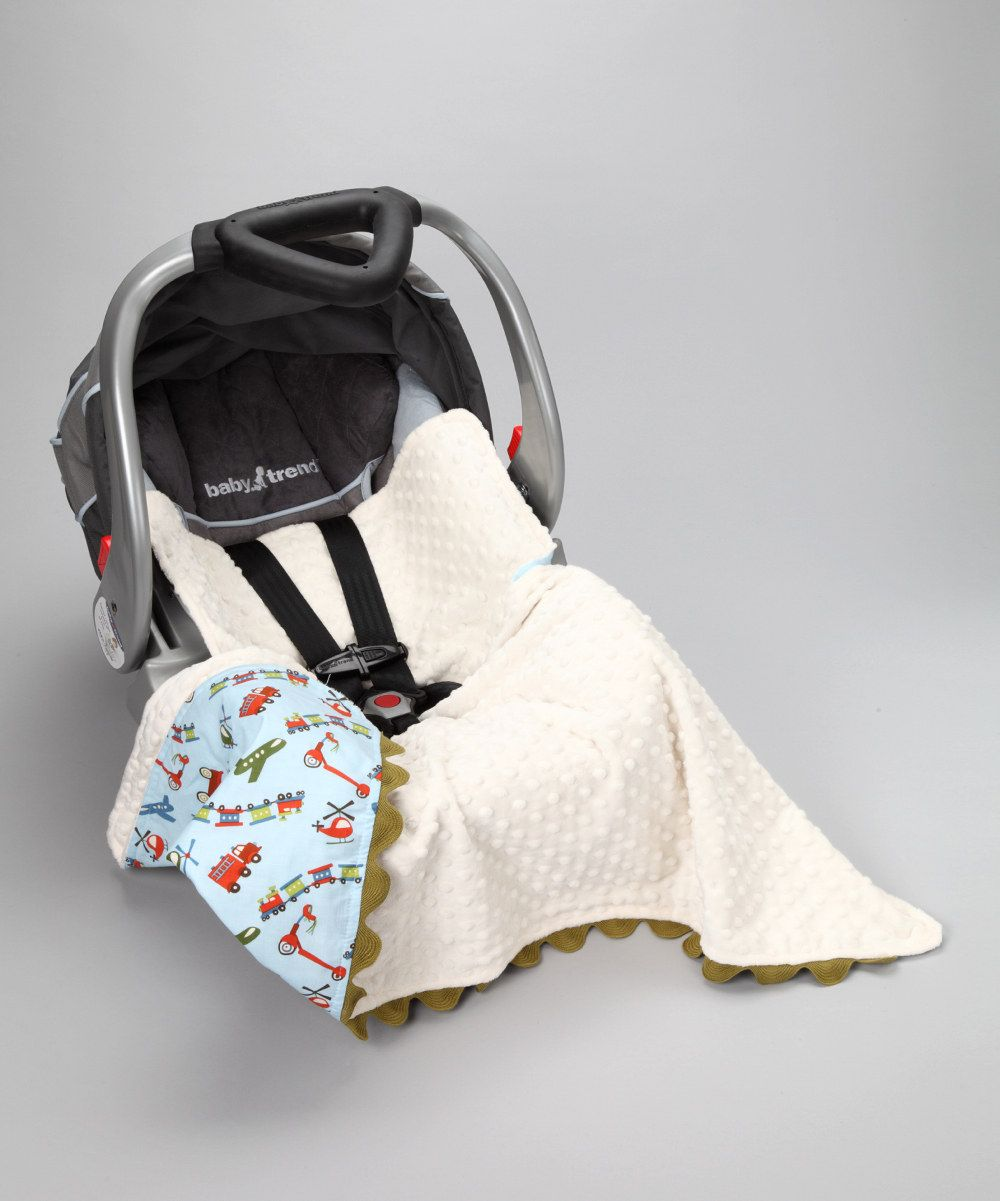 Posh Comforts Blue Way to Go Stroller Blanket