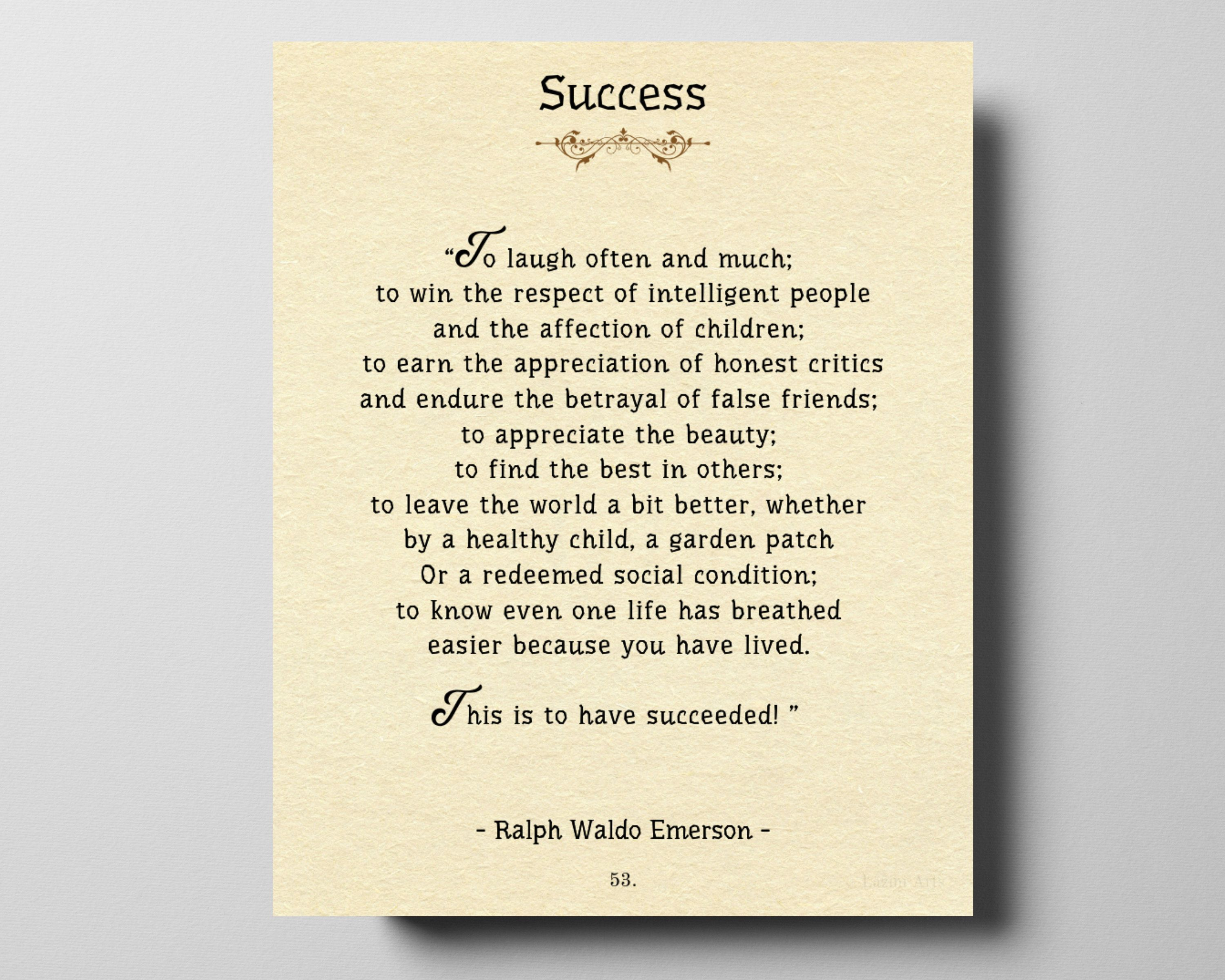 Book Page Art Success Poem By Ralph Waldo Emerson Two