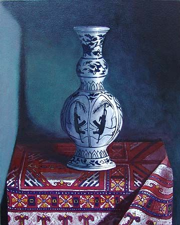 Michael Edwards,    'Vase and Cloth' 2011,    oil on canvas,  50 x 40cm