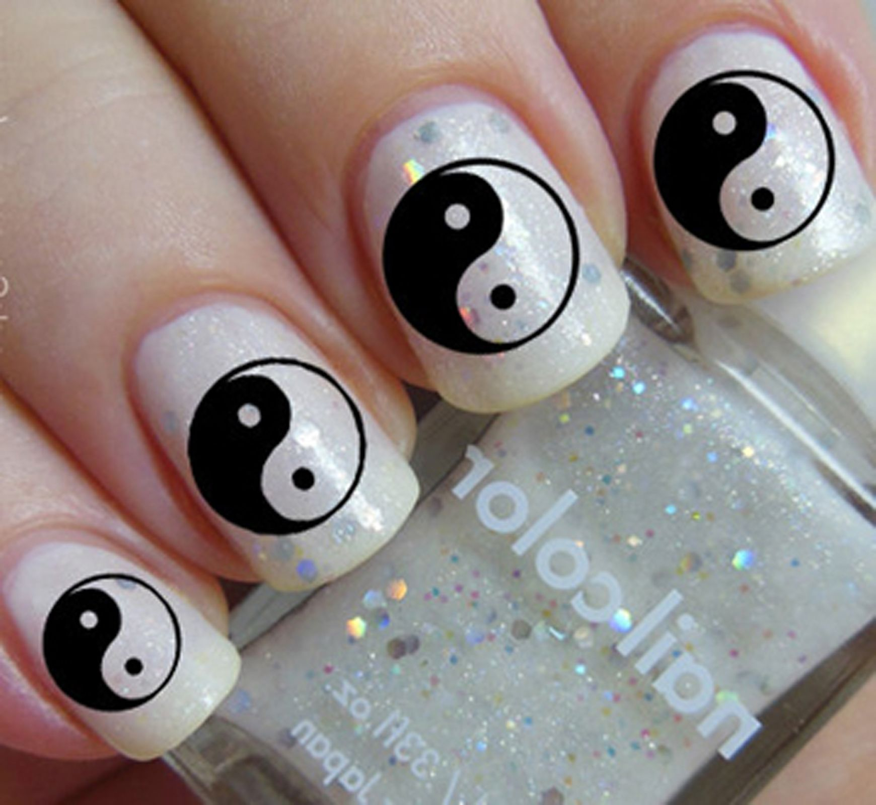 YIN YANG Nail Art Decals - Clear and Black (YYC)