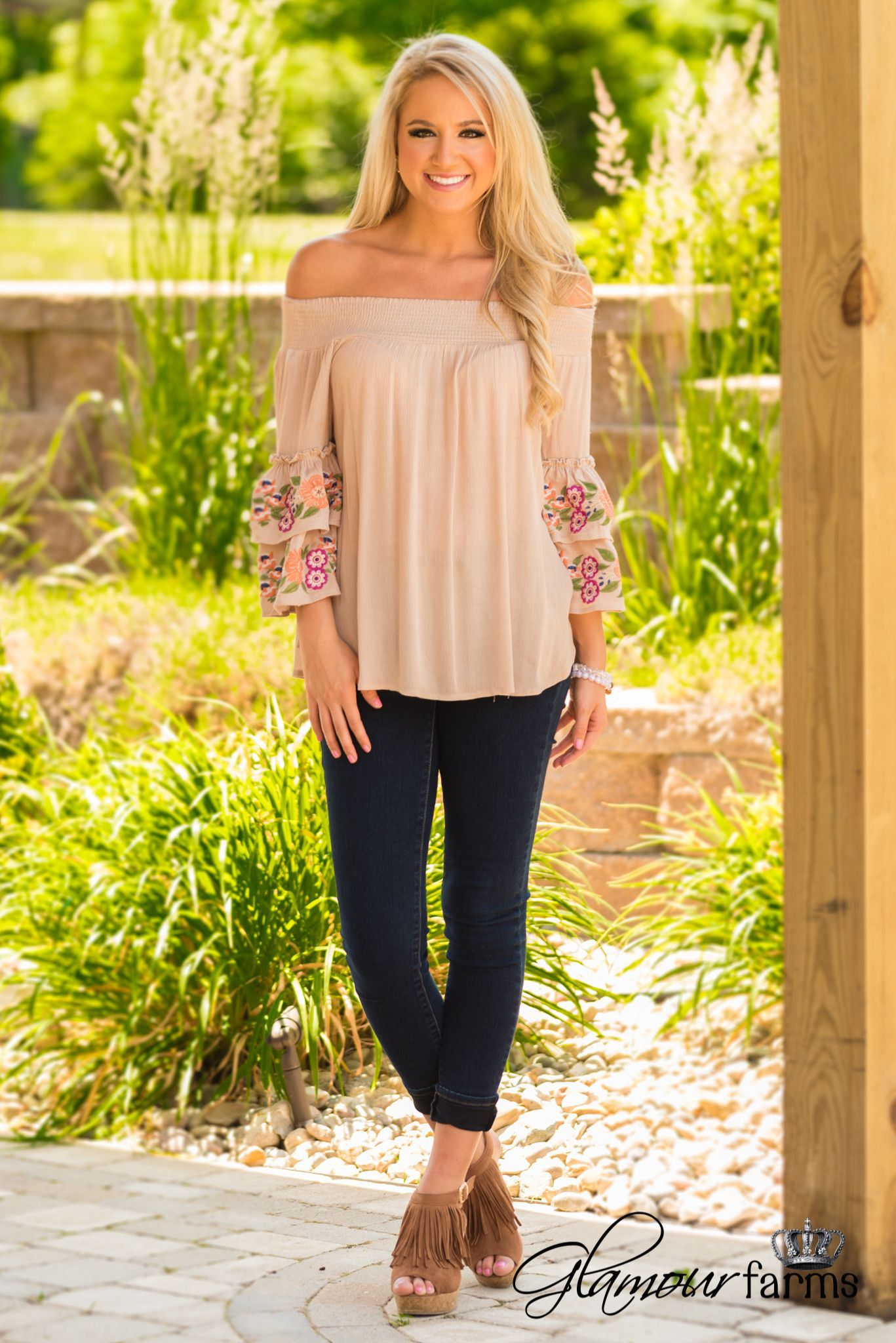 Frill Of It All Embroidered Top - Taupe