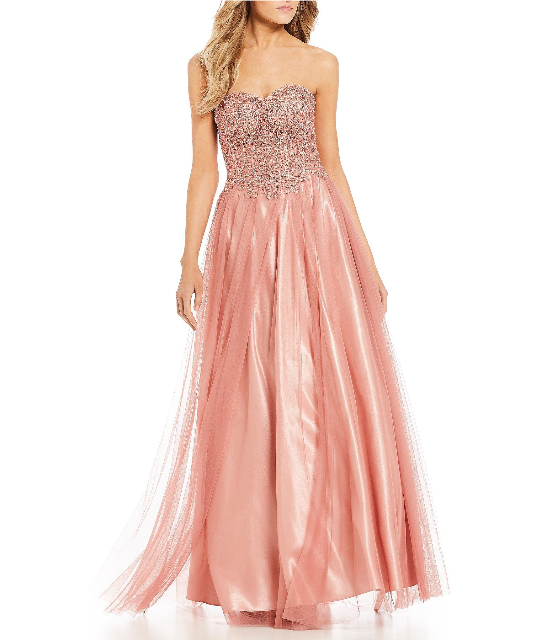 Blondie Nites Strapless Beaded Bodice Ball Gown | Dillards, Ball ...