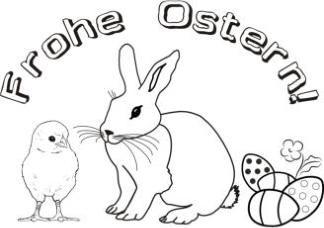Malvorlage Ostern, Ausmalbild Küken, Hase, Ostereier