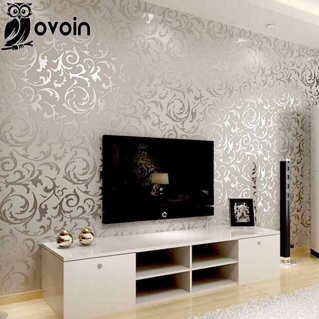 Papel pintado del damasco de la hoja de plata scroll pared de fondo del rollo de papel de vinilo - Muebles pintados en plata ...