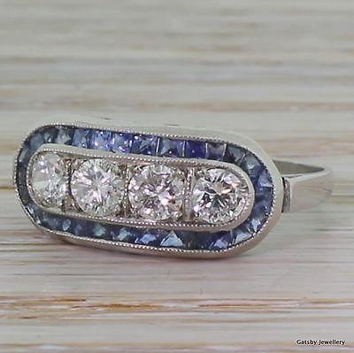 ART DECO 0.80ct DIAMOND & FRENCH CUT SAPPHIRE RING - Platinum - ANTIQUE c. 1940