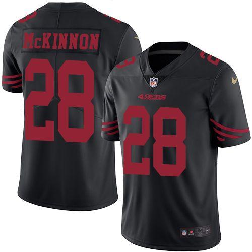 Cheap Nike 49ers #28 Jerick McKinnon Black Men's Stitched NFL Limited Rush