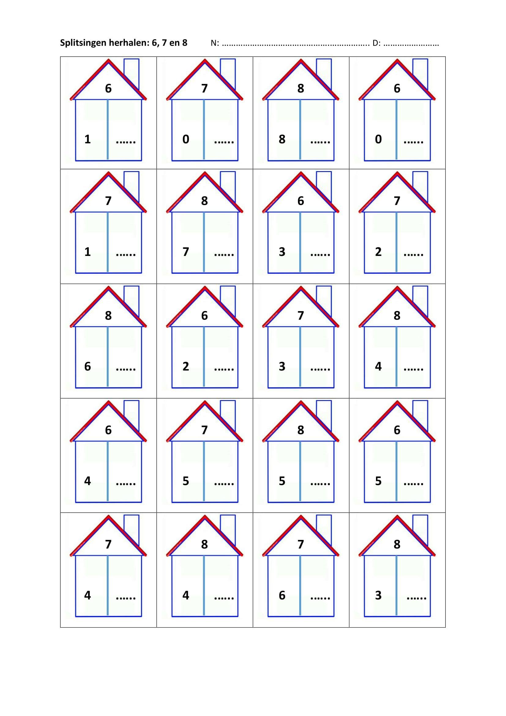 Favoriete splitsen van 6, 7 en 8   обучение - First grade math worksheets #KZ22