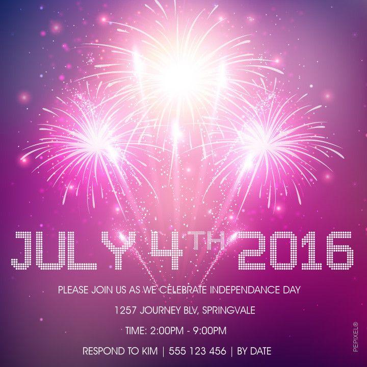 4th of July Printable Invitation Template - Purple Fireworks – Pepixel  #Digital Printable, #4july #4thofjulyinvitation, #template, #invitation  #party,  #fourthofjuly #birthdayinvitations, #patriotic #independenceday, #4thofjulybirthdayinvitations, #independencedayusa