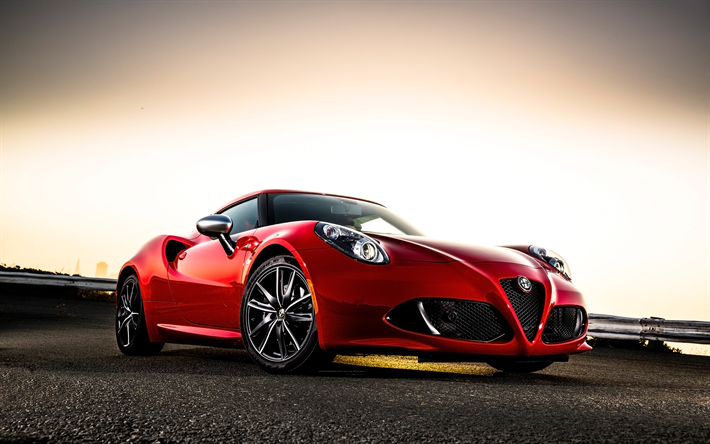 Download wallpapers Alfa Romeo 4C Coupe, supercars, 2018