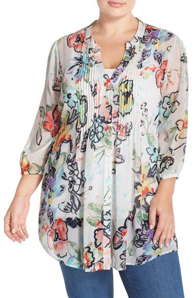 38118849a843d7 Melissa McCarthy Seven7 Print Tie Waist Pintuck Blouse (Plus Size)  available at  Nordstrom