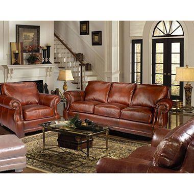 Bristol Vintage Leather Craftsman Living Room Set | Belle: Home ...